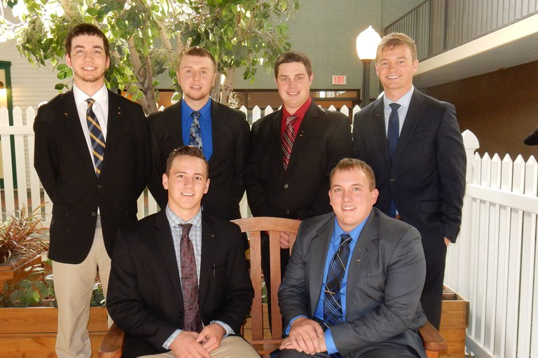 Penn State students who participated in the Northeast Dairy Challenge are: Seated - Sam Minor, left, and Ian Miller; Standing, from left - Zane Itle, Josh Grigg, Greg Kowalewski and Josh Brubaker.
