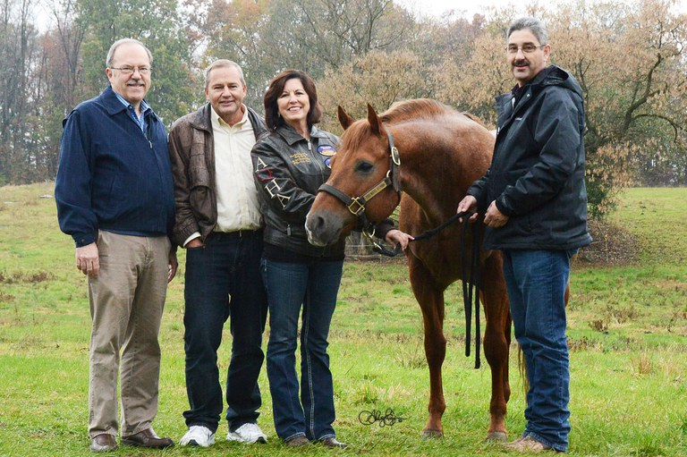 """Surrounding """"Irish,"""" from left, are Dr. Terry Etherton, Head of the Department of Animal Science, Craig and Becky Bailey and Brian Egan, Horse Farm Coordinator."""