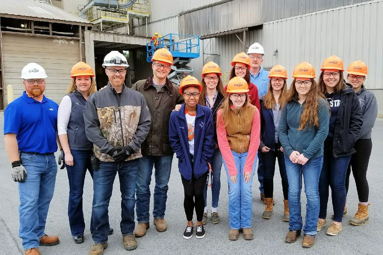 Visitors to Cargill, from left, Corey Ervay, Heather Layton, Chad Showers, Burt Staniar, Darian Coleman, Rebekah Sheridan, Sarah Haunstein, Brittany Miller, Hannah Taylor, Melissa Cluck, Sarah Rassler, and Rachel Higgins.