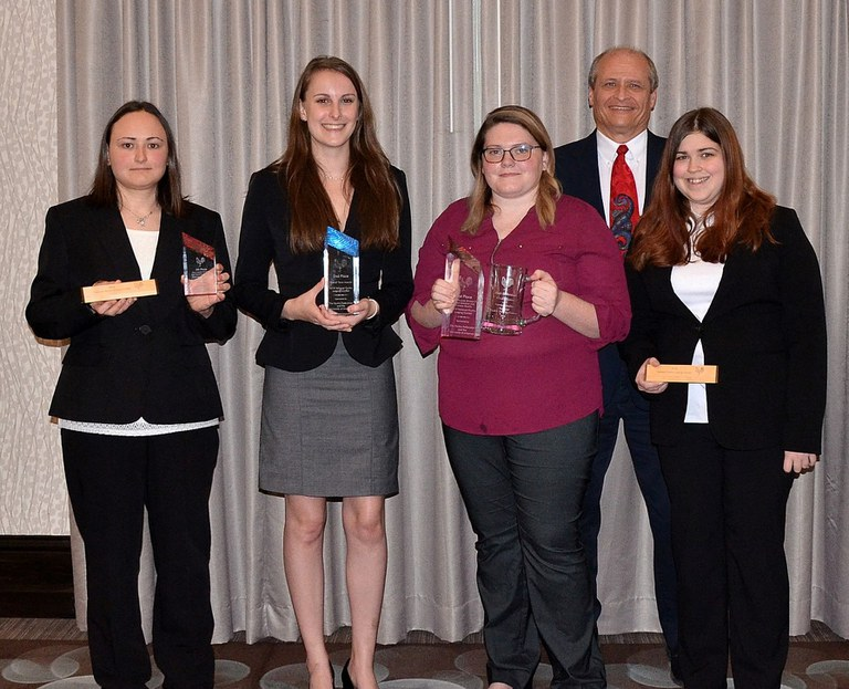 Penn State's Poultry Judging Team, from left: Heather Sciubba, Hannah Menges, Katie Sondericker, Phillip Clauer and Amanda Kulp