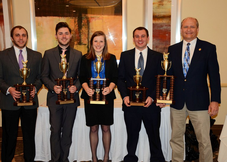 Collegiate Poultry Judging Team, from left: Blake Ramsey, Kurtis Miller, Katie Hess, Kevin Brubaker and Phillip Clauer