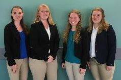 Penn State students who won the national ASAS Academic Quadrathlon competition, from left: Amber Gabel Smith, Sarah Shoup, Amy Middleton and Alexa LeCrone.