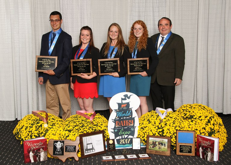 Penn State's winning dairy judging team, from left: Dylan Dietz, Abigail Jantzi, Emma Brenengen,  Emily Heilinger and Coach Dale Olver. Photo by Agri-Graphics