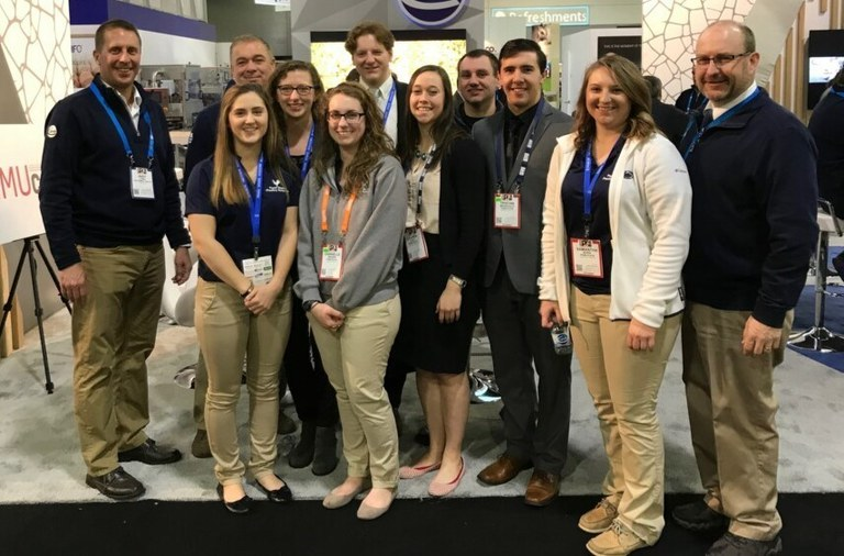The Poultry Science Club in Penn State's College of Agricultural Sciences attended the International Poultry Exposition in Atlanta, Georgia. Members are shown with Penn State graduates and Ceva Animal Health representatives.