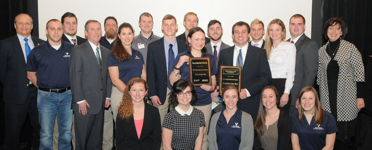 Members of the Penn State Poultry Science Club being recognized as first in the nation.