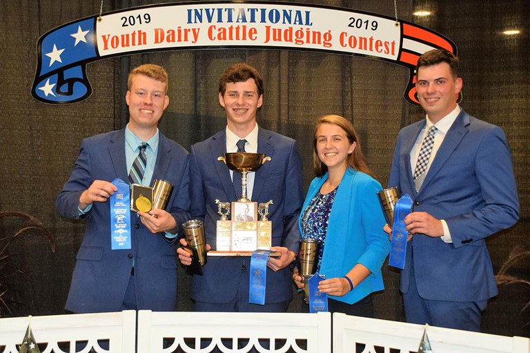 Penn State's winning judging team at the All-American Dairy Show collegiate judging contest -  from left: Caleb McGee, Daniel Kitchen, Belle Dallam and Gregory Norris.