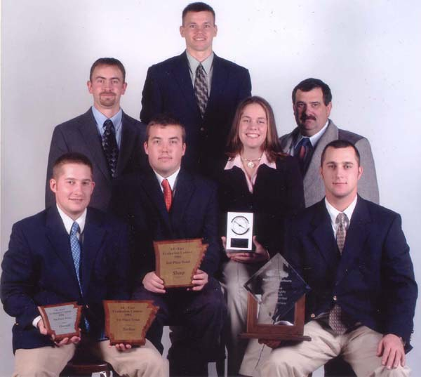 2004 Livestock Judging Team with coaches Wendall Landis (top left) and Dan Kniffen (top right)